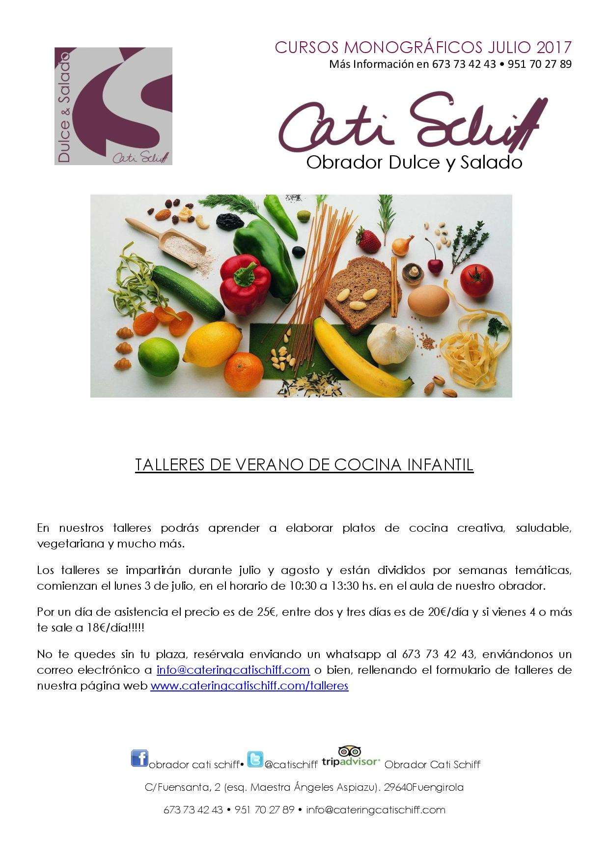 Talleres infantiles de verano catering cati schiff - Talleres de cocina infantil ...